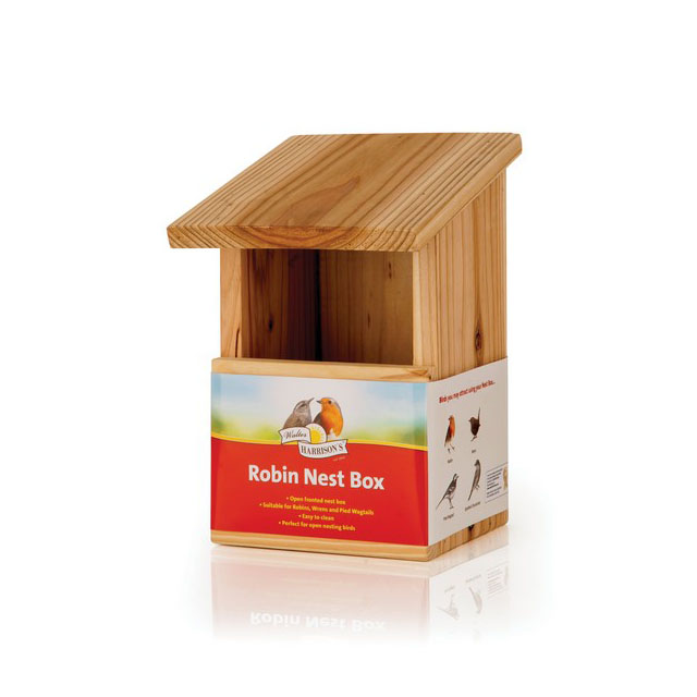 Harrisons Wooden Nest Box Robin Front Opening 8cm