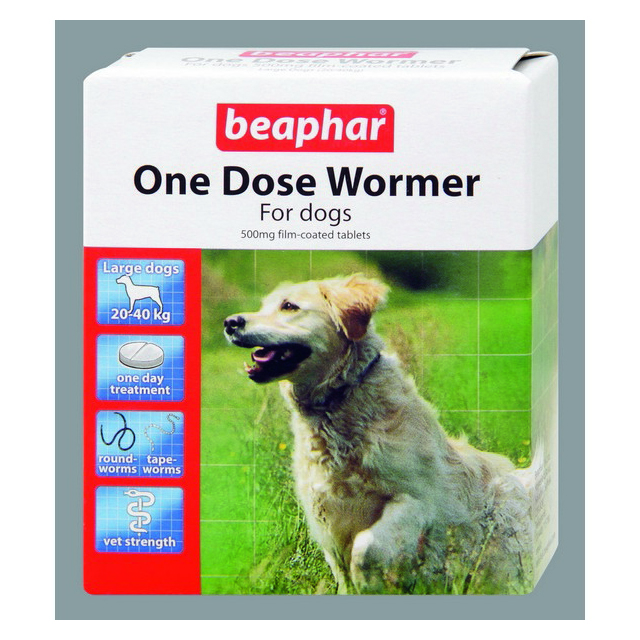 Beaphar Wormer One Dose Dogs Large Dog 4 Tab
