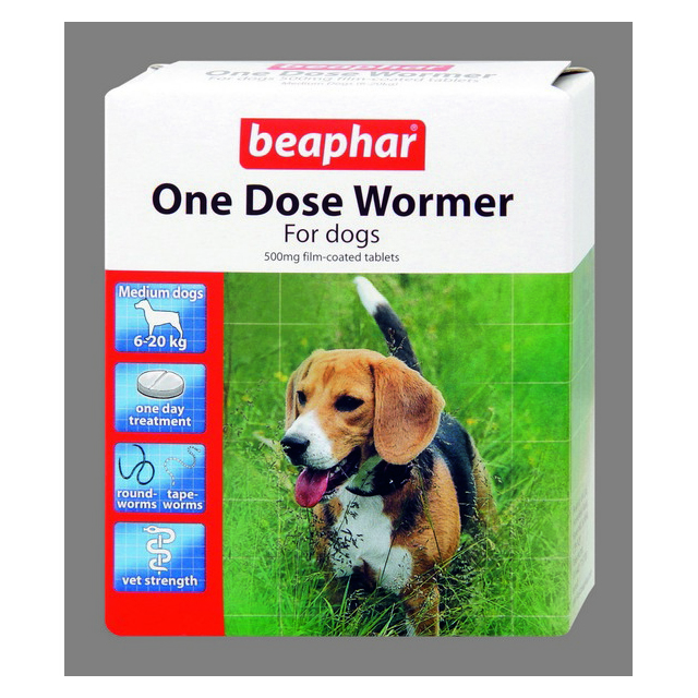 Beaphar Wormer One Dose Dogs Medium Dog 2 Tabs