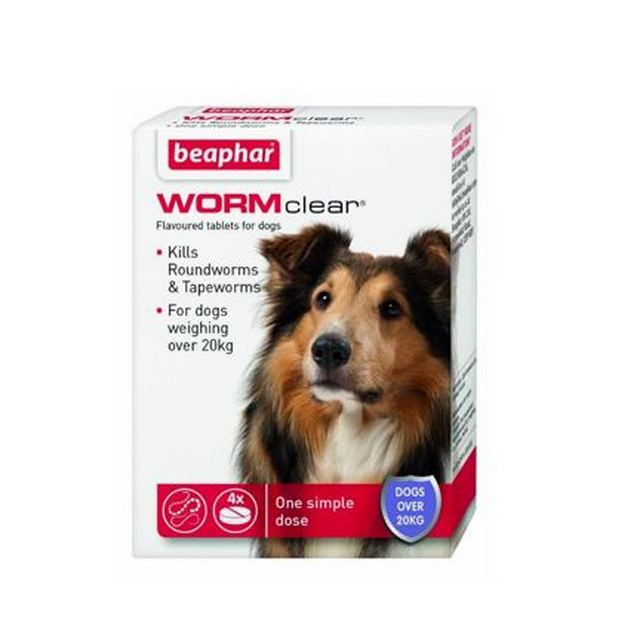 Beaphar WORMclear Dog for Dogs up to 40kg (4Tabs)