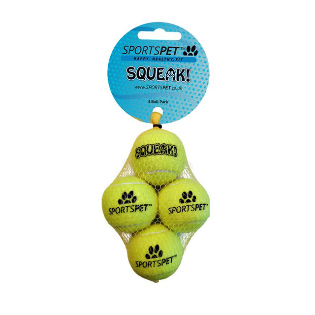 Sportspet Tennis Mini Squeak 4 pack