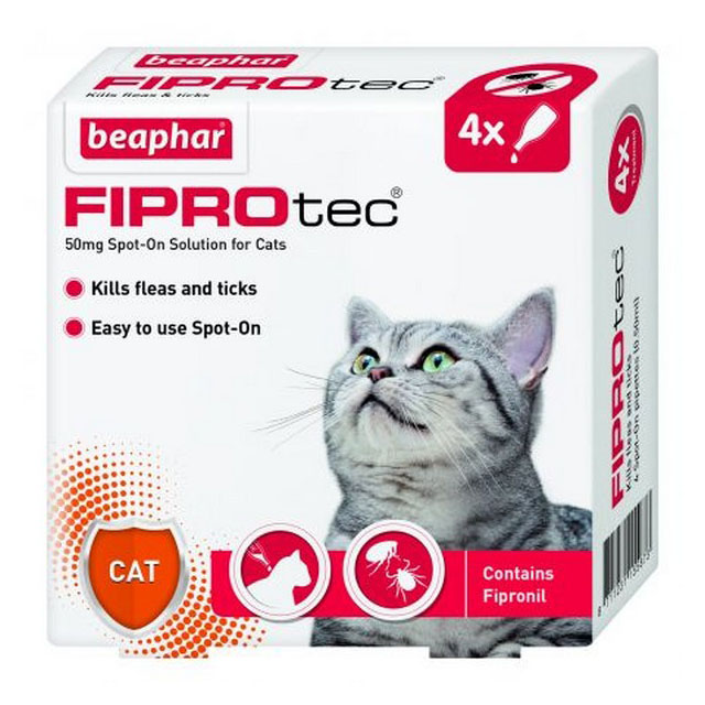 Beaphar Fiprotec Spot On Cat 50mg (4 Pipettes)