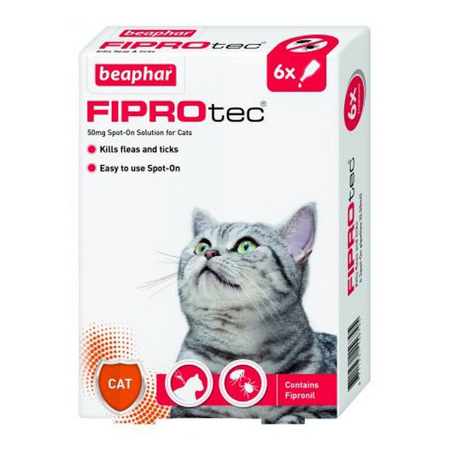 Beaphar Fiprotec Spot On Cat 50mg (6 Pipettes)