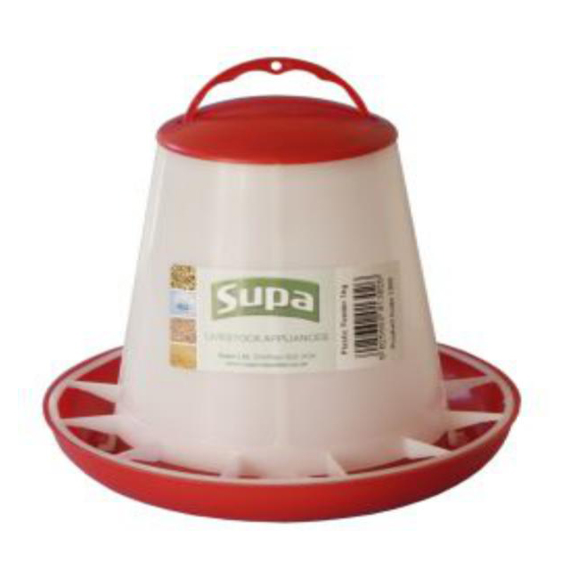 Supa Red and White Plastic Poultry Feeder 1kg