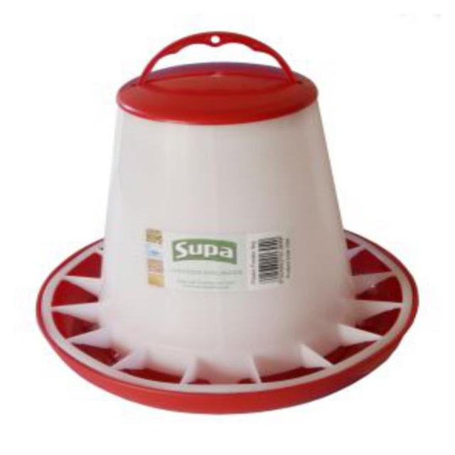 Supa Red and White Plastic Poultry Feeder 3kg