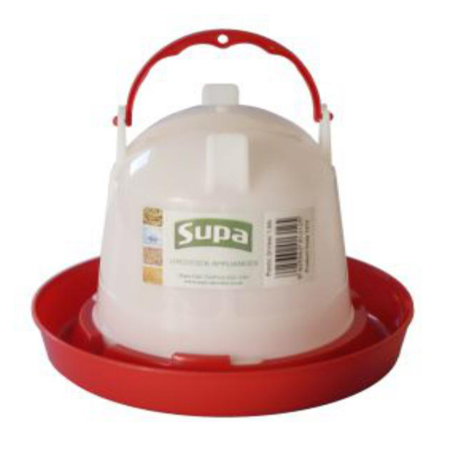 Supa Red and White Plastic Poultry Drinker 1.5L