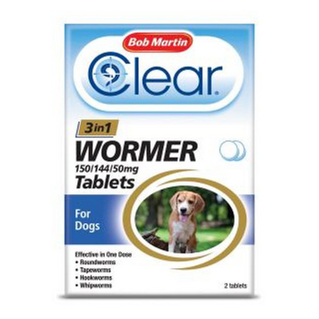 BM Clear 3 in 1 Wormer for Dogs 3kg - 20kg (2Tabs)