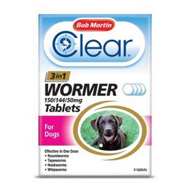 BM Clear 3 in 1 Wormer for Dogs 3kg - 40kg (4Tabs)