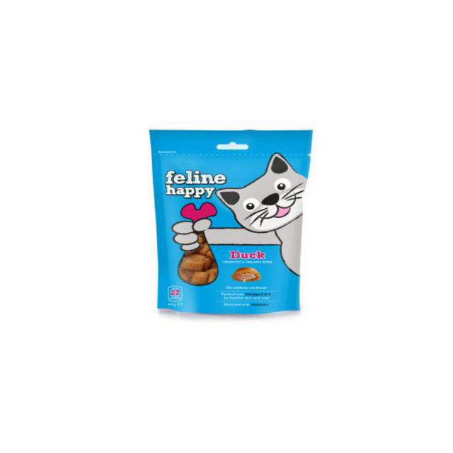 M & C Feline Happy Duck Bites Cat Treats 60g [DCse 8]
