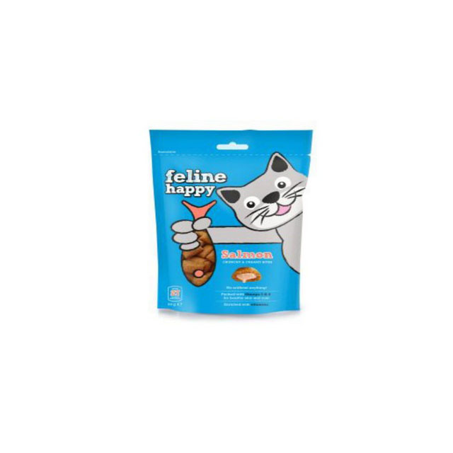 M & C Feline Happy Salmon Bites Cat Treats 60g [DCse 8]